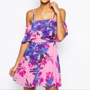 ASOS Cold Shoulder Pink Floral Mini Dress